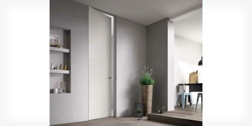 A gray wall and door.