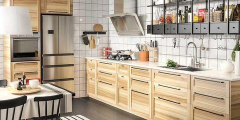 Kitchen cabinets with door handles.