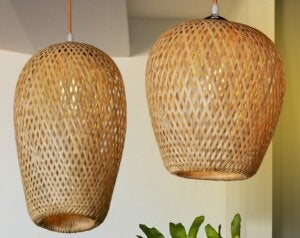 Bamboo lamps.