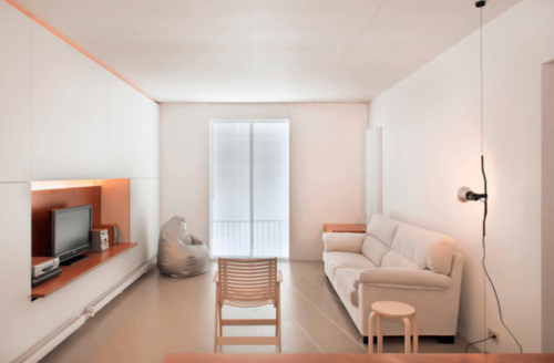 The living room of a prefabricated house.