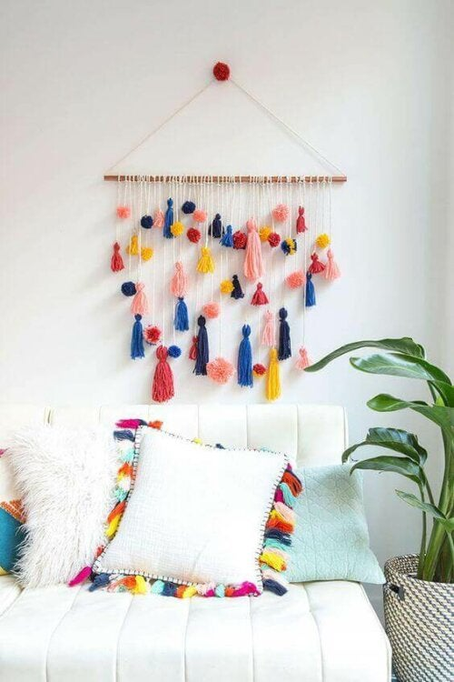 Some macrame wall hangings are colorful.