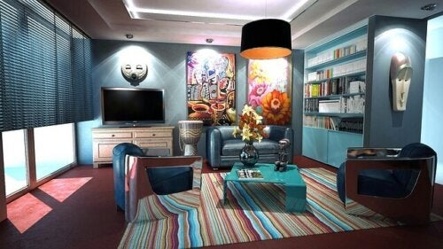 A colorful, modern living room.