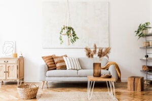 Light-colored furniture.