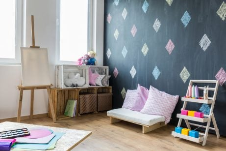 A childrens library for very young filled with small furniture and fun activities