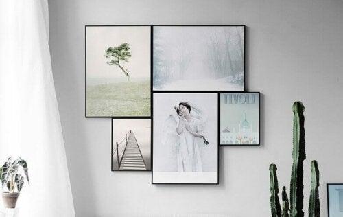 Paintings framed in glass.