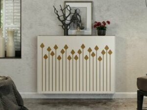 Patterned radiator cover.