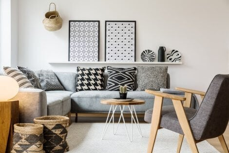Pyt style living room with gray and white furnishings