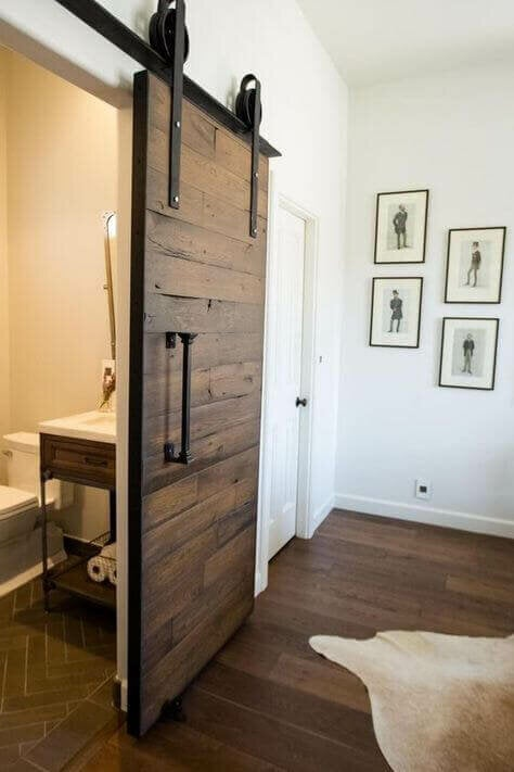 A sliding bathroom door.