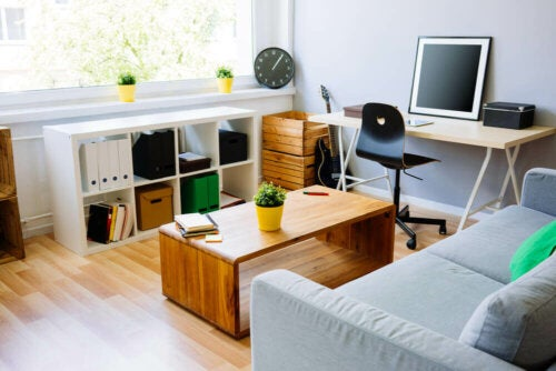 A small lounge with an office.