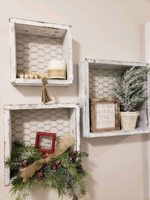 Shelves made with chicken wire.