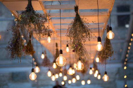 Warm outdoor string lights