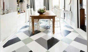 An image of painted geometric flooring.
