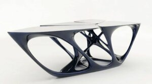 The Mesa table represents one of Zaha Hadid's unique designs.