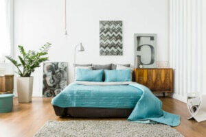 Turquoise and white bedroom decor.