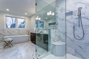 Marble bathroom interior.