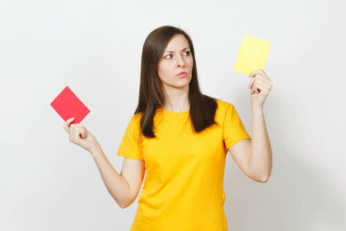 A woman acting as a referee.