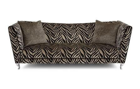 An animal print couch.