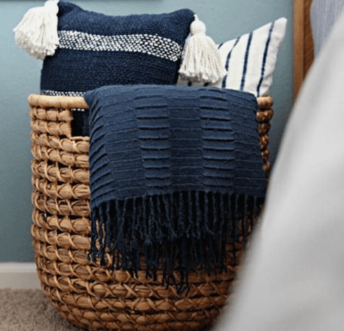 Decorate with baskets in your bedroom.
