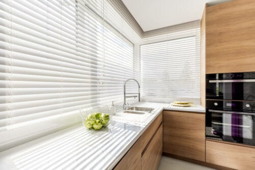 Curtains in a kitchen.