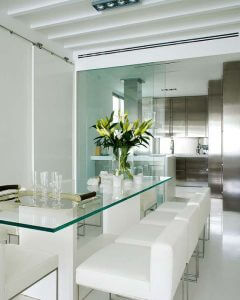 A glass dining room table.