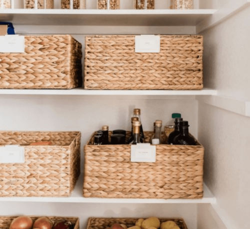 In the kitchen, decorate with baskets to create chic organization.
