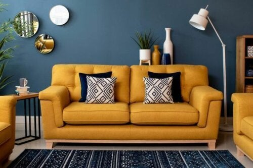 Mustard yellow in the living room can add warmth.