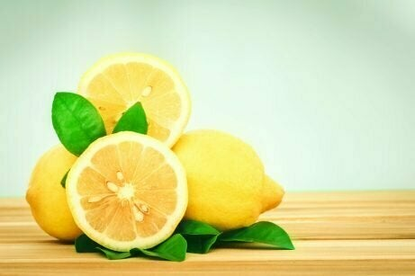 Lemons cut in half on a counter