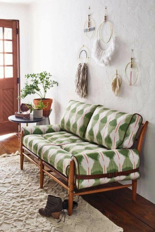 Patterned sofas can add a unique touch.