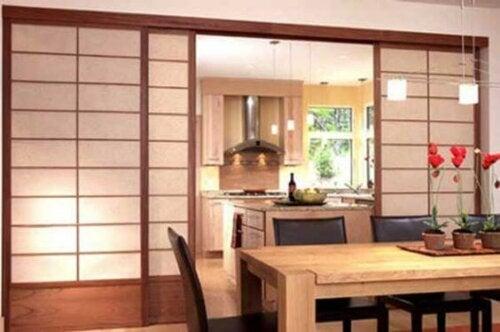 Asian-style sliding doors.