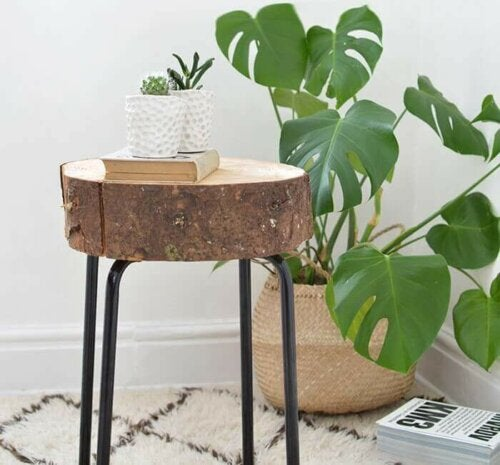 A natural, wooden stool.