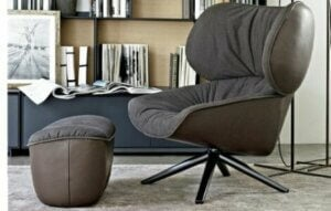 Fabric and faux leather armchair.