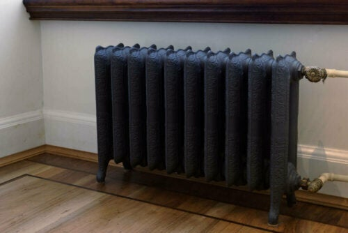 An antique radiator painted black