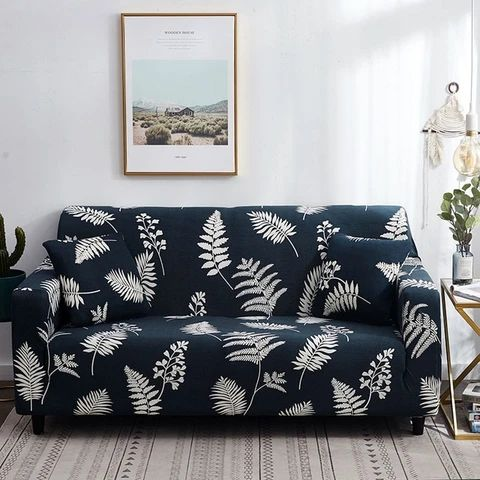 There are some patterned sofas with vegetable prints.