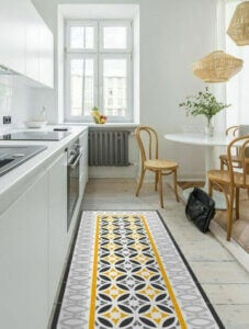 Use vinyl matting to create a child-proof kitchen.