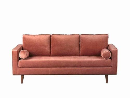 A classic red velvet sofa.