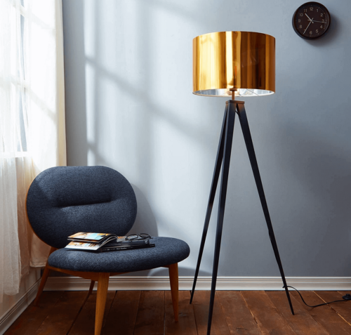 A floor lamp and chair in a home.