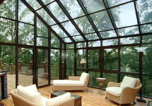 A furnished solarium in a home.