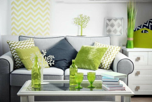 A living room with fresh apple green touches.