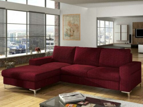 The best red sofa in a modern living room.