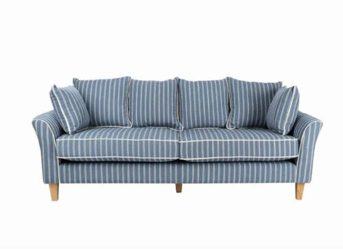 One of the best blue striped sofas.