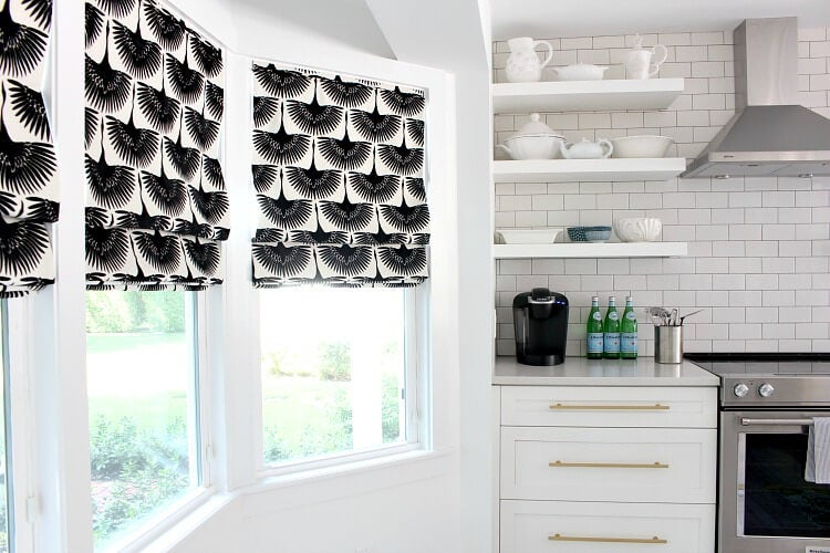 Roman blinds in the kitchen.
