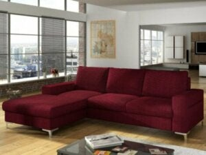A burgundy chaise lounge sofa.