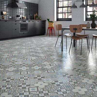 A gray kitchen with a patterned floor.