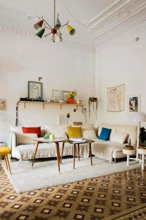 A bright living room design.