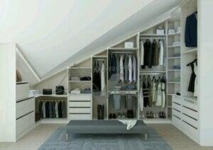 Custom-made storage for sloped ceilings.