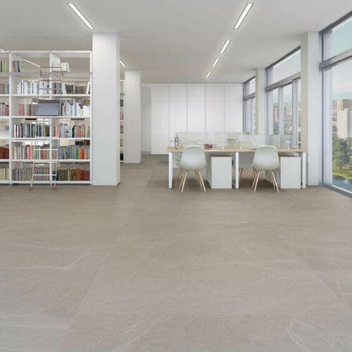 Glazed porcelain stoneware is a good option for inside and outside.