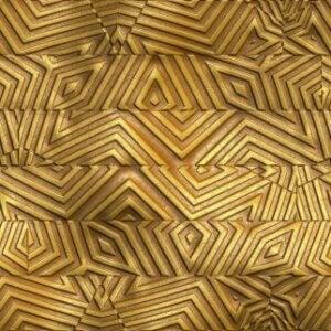 Gold wall tiles.