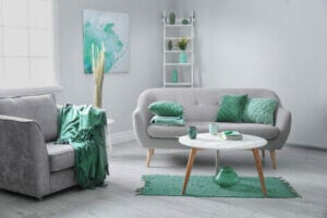 Mint green and gray living room decor.
