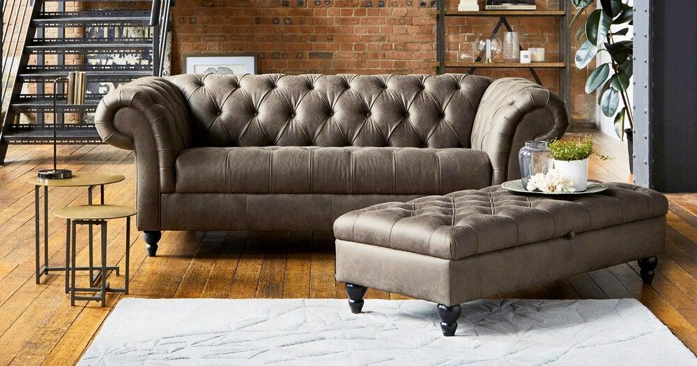 A brown chester sofa