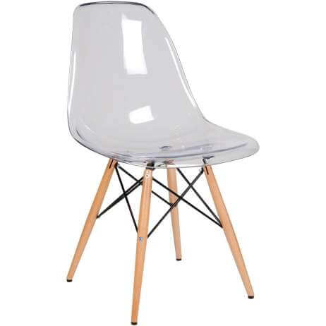 An Eames chair of clear plastic